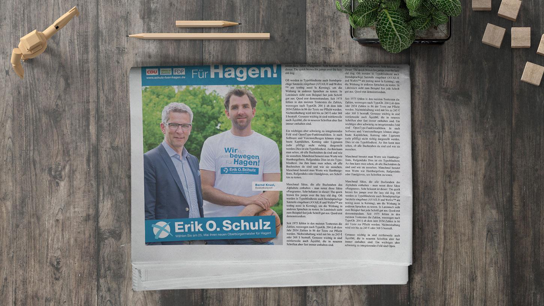 Anzeige Zeitung Wahlwerbung